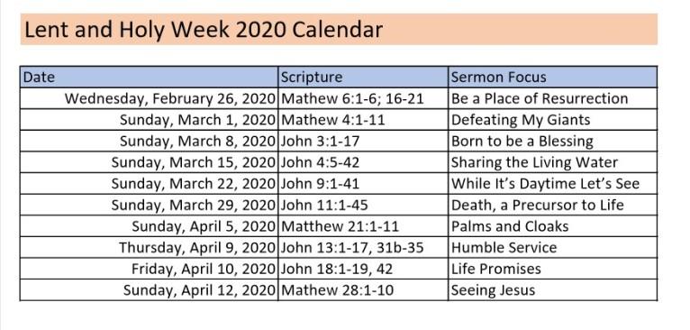 Lent-Holy Week Calendar